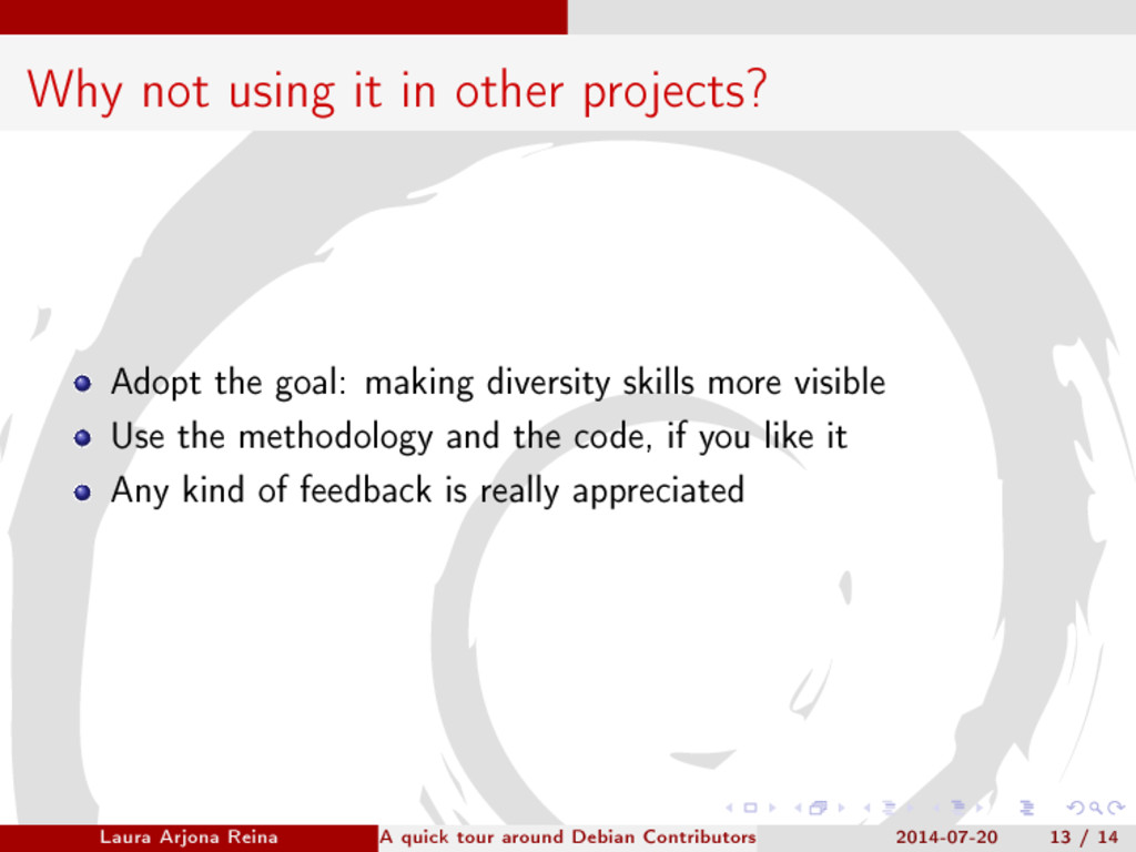 Why not using it in other projects? Adopt the g...