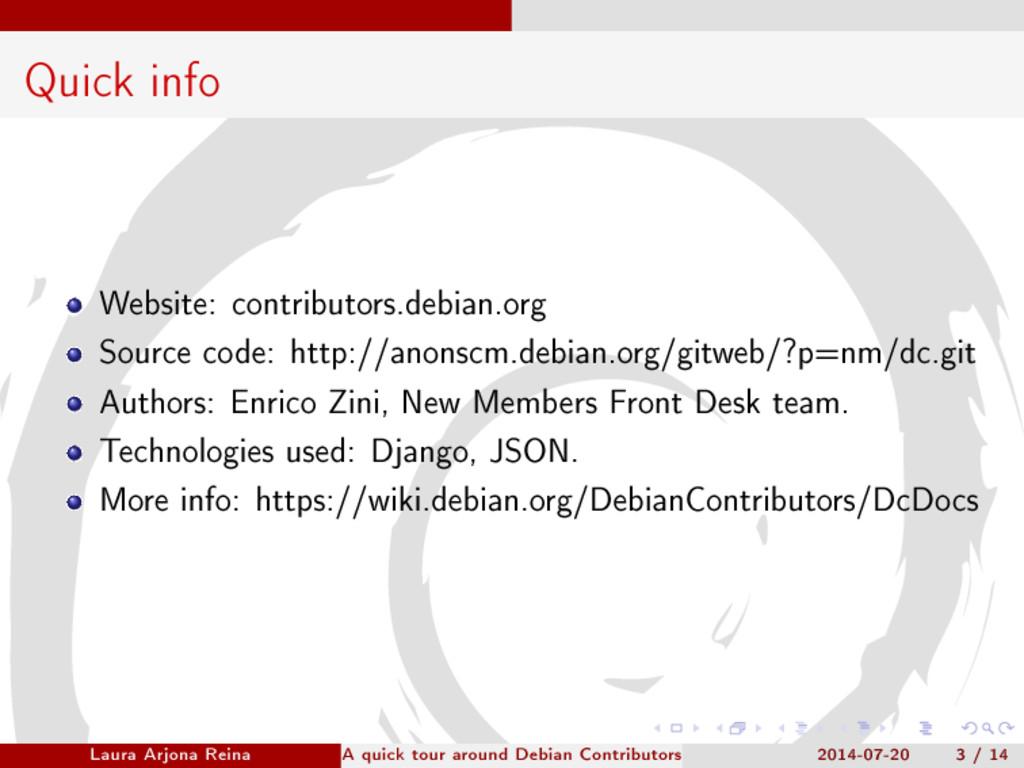 Quick info Website: contributors.debian.org Sou...