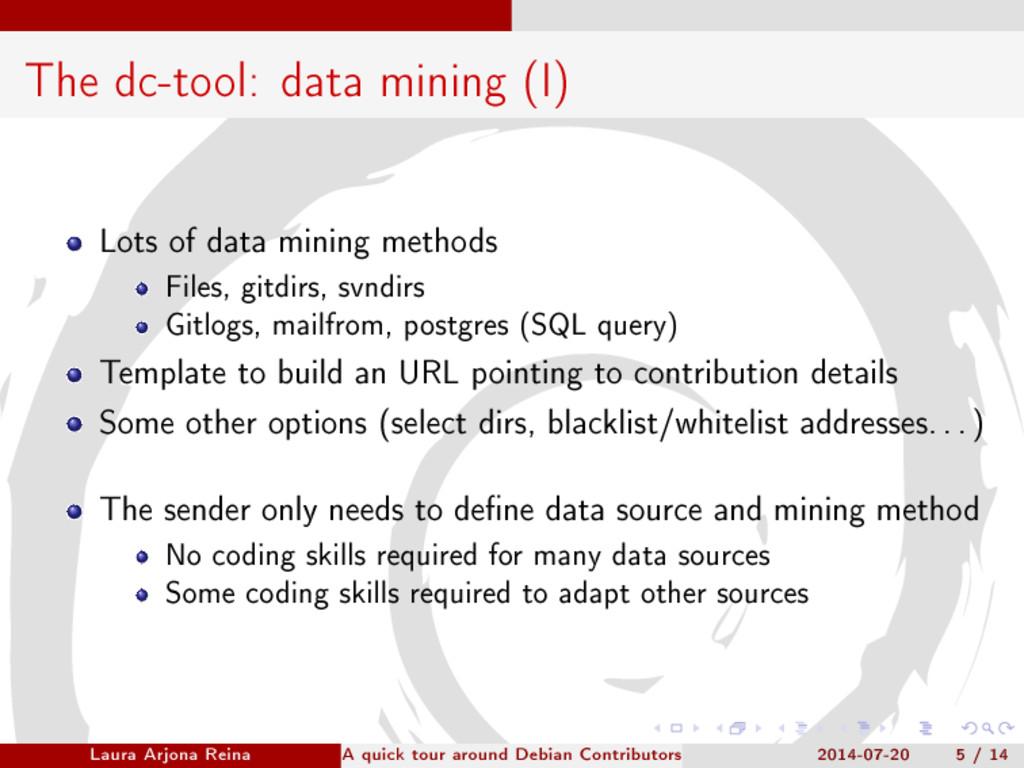 The dc-tool: data mining (I) Lots of data minin...
