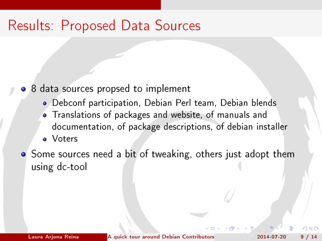 Results: Proposed Data Sources 8 data sources p...