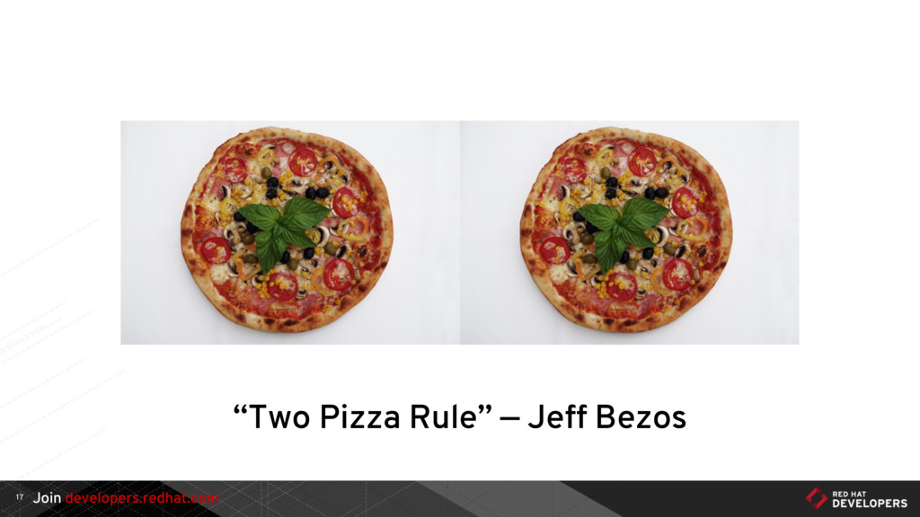 "Join developers.redhat.com 17 ""Two Pizza Rule"" ..."