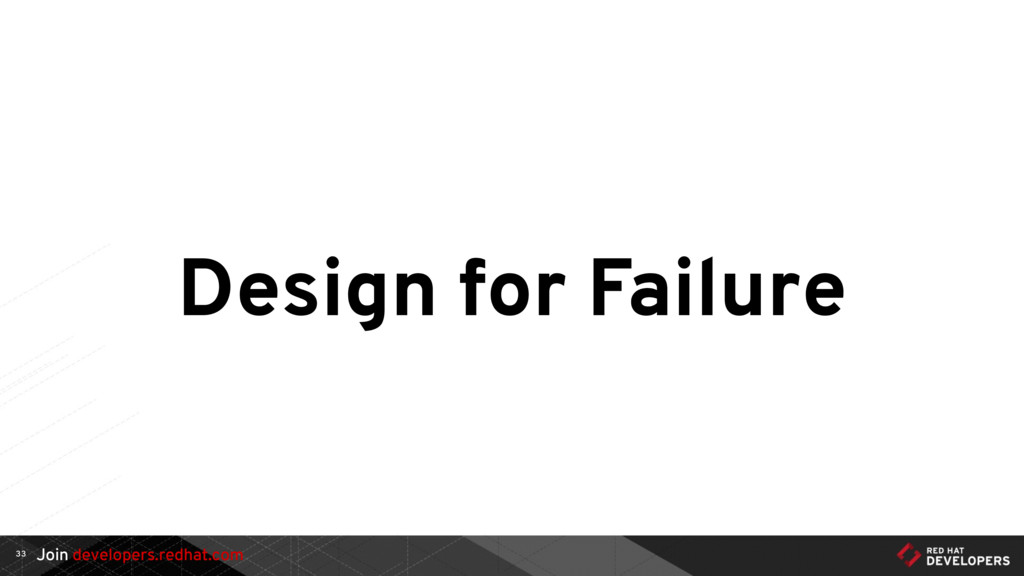 Join developers.redhat.com Design for Failure 33