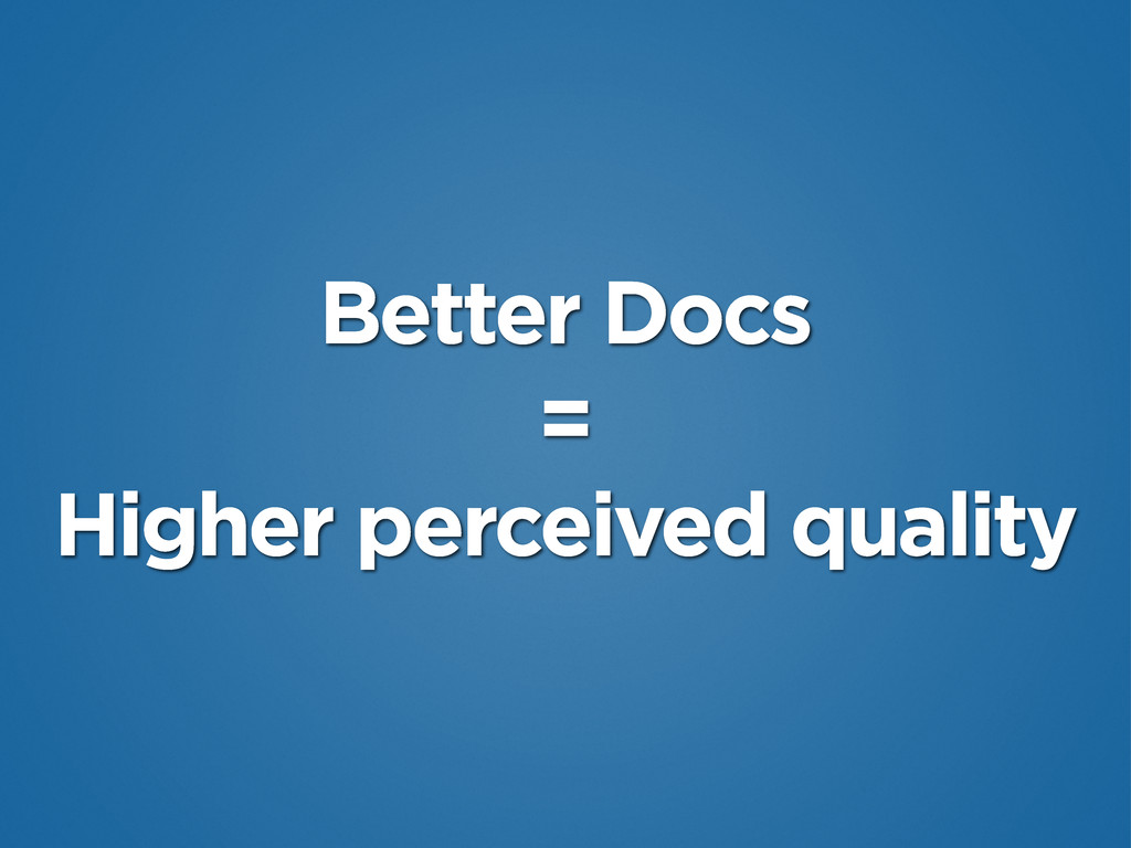 Better Docs = Higher perceived quality