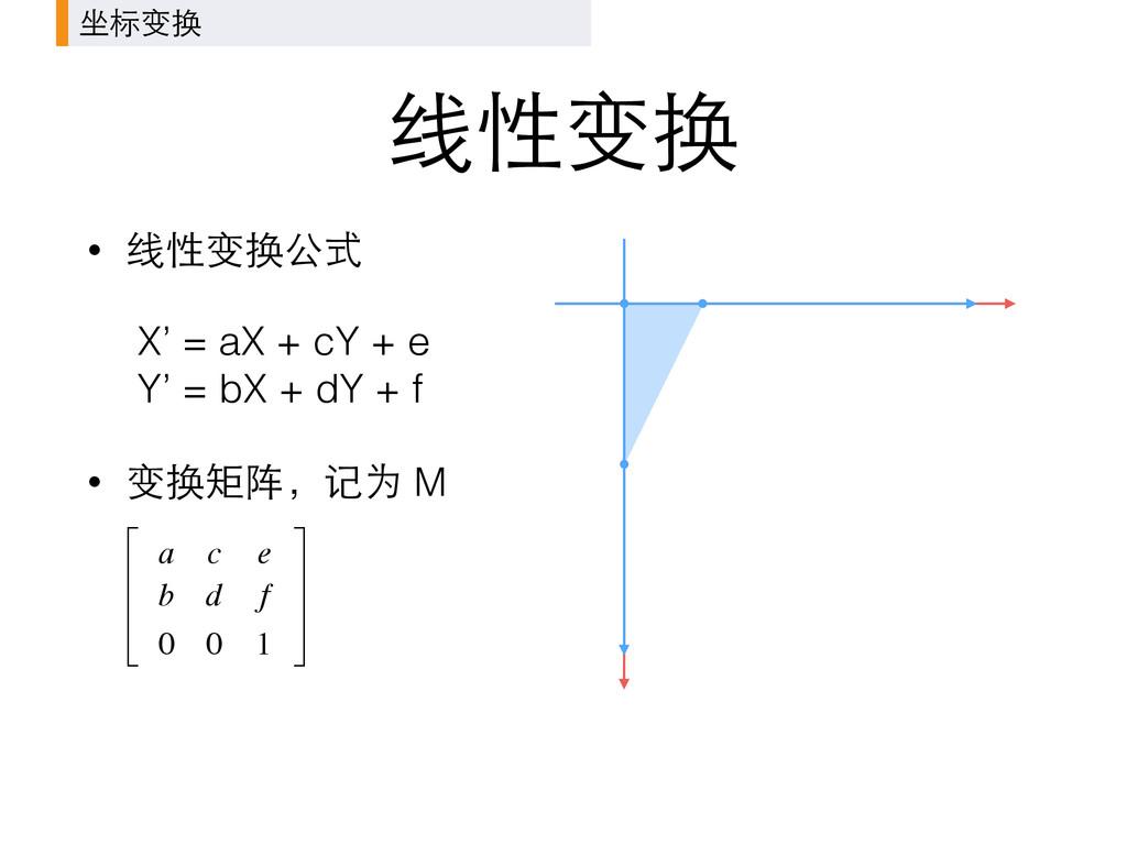 线性变换 坐标变换 • 线性变换公式 X' = aX + cY + e Y' = bX + ...
