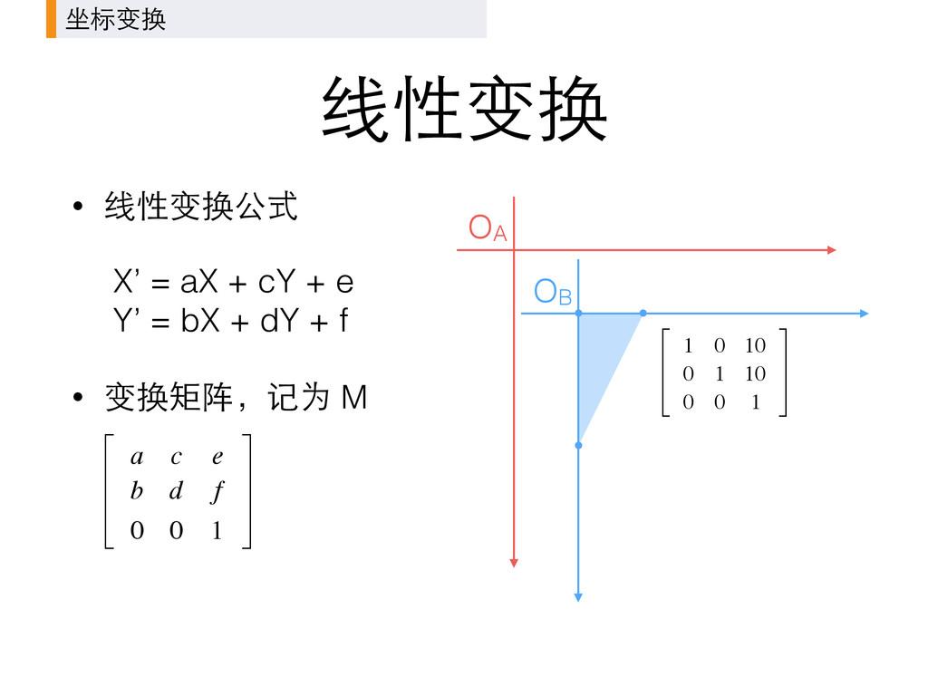 线性变换 • 线性变换公式 X' = aX + cY + e Y' = bX + dY + ...