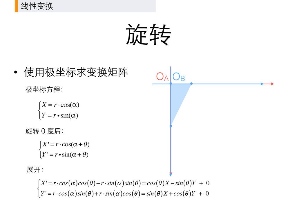 旋转 OA 线性变换 • 使⽤用极坐标求变换矩阵 OB X = r ⋅cos(α) Y = r...