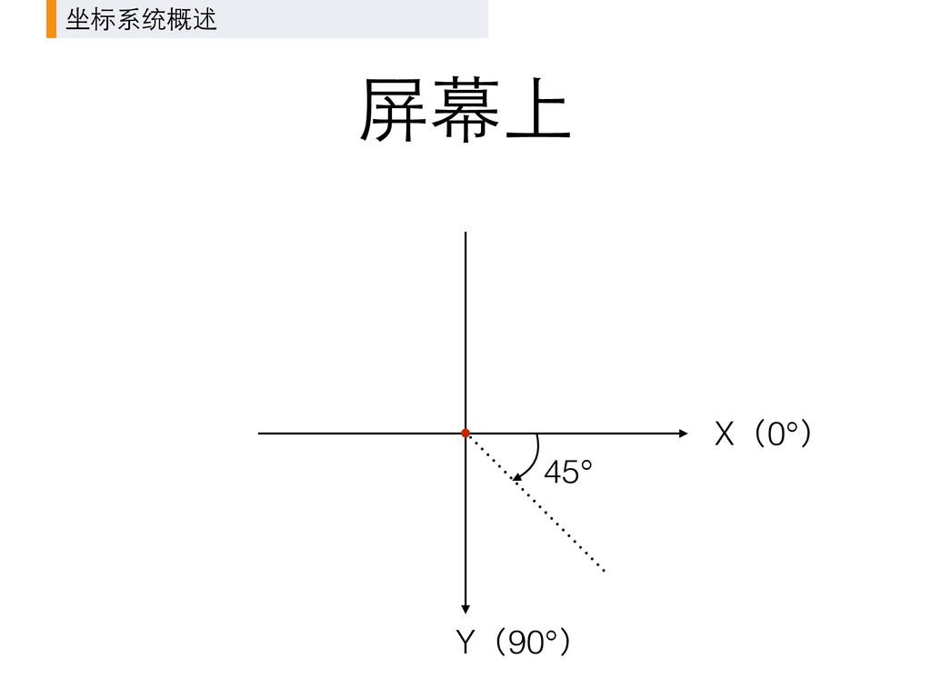 屏幕上 X(0°) Y(90°) 45° 坐标系统概述