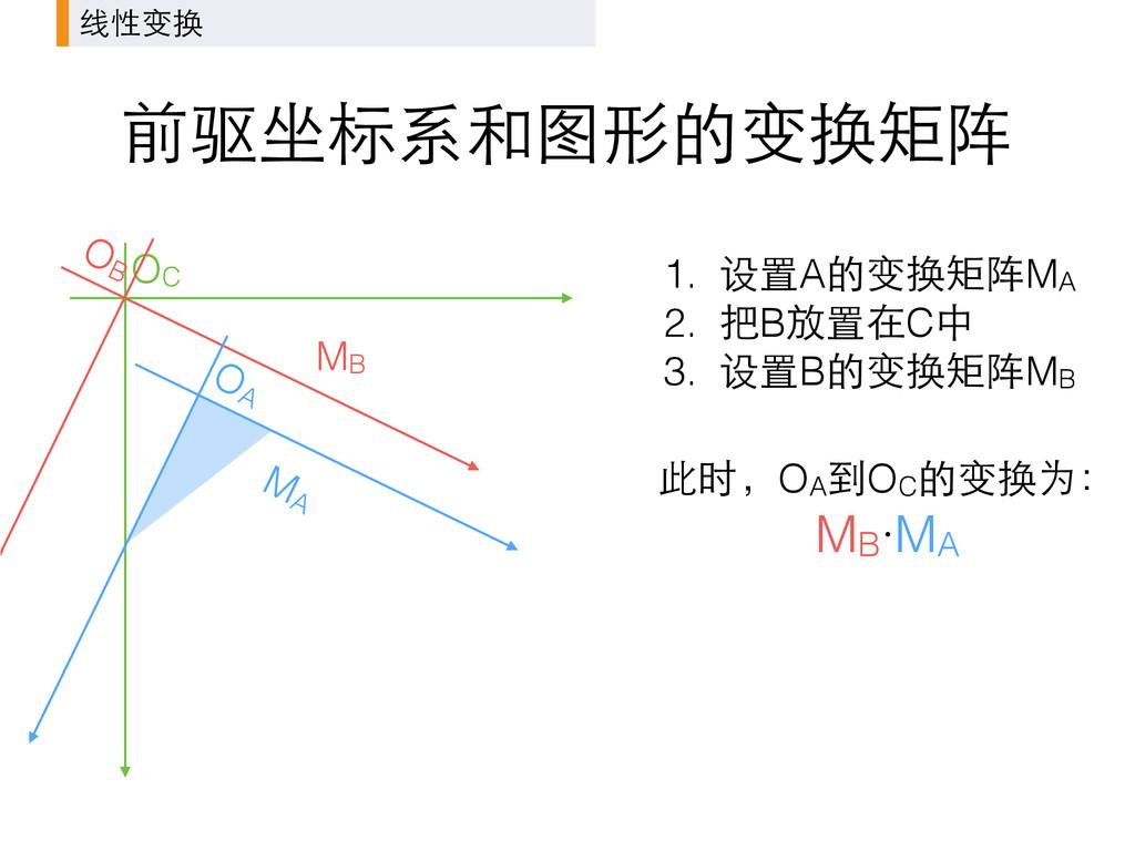 前驱坐标系和图形的变换矩阵 线性变换 1. 设置A的变换矩阵MA 2. 把B放置在C中 3. ...