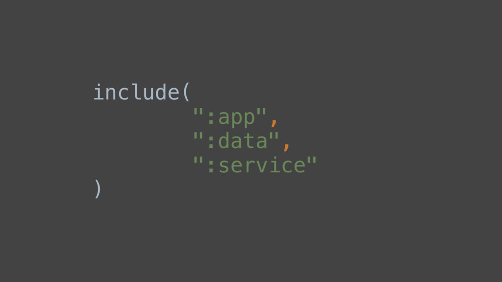 "include( "":app"", "":data"", "":service"" )"