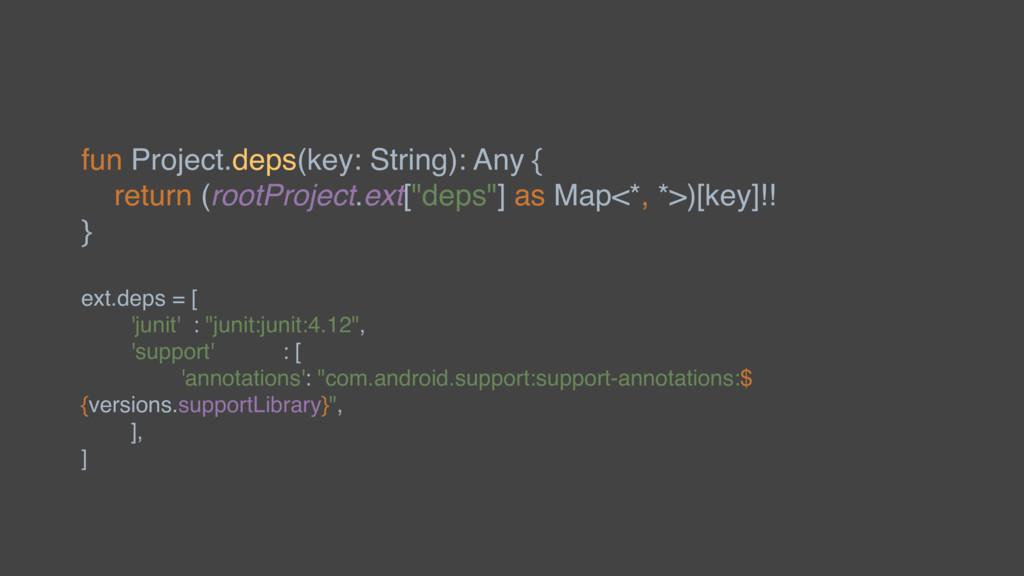 fun Project.deps(key: String): Any { return (ro...
