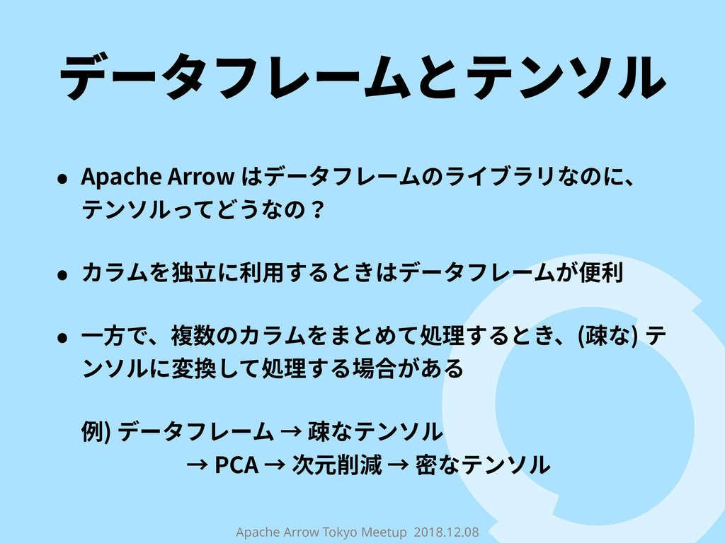 Apache Arrow Tokyo Meetup 2018.12.08 データフレームとテン...