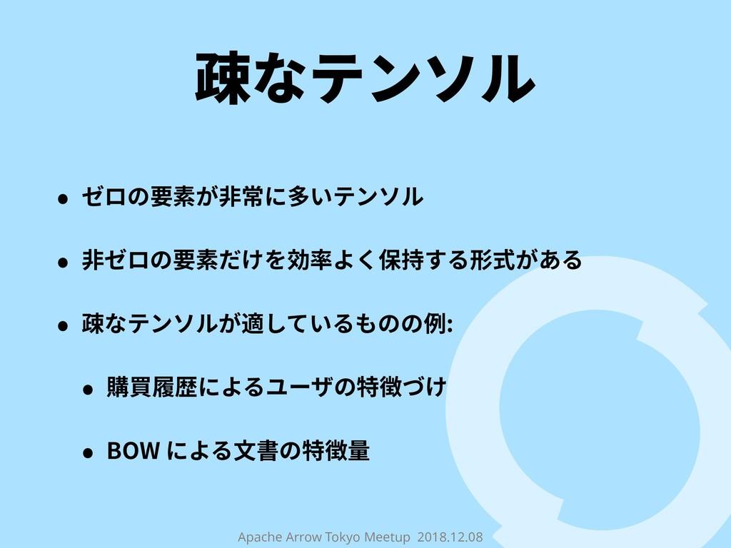 Apache Arrow Tokyo Meetup 2018.12.08 疎なテンソル • ゼ...