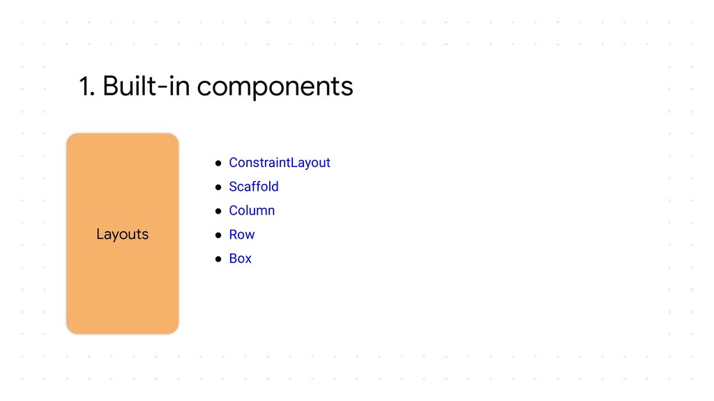 1. Built-in components Layouts ● ConstraintLayo...