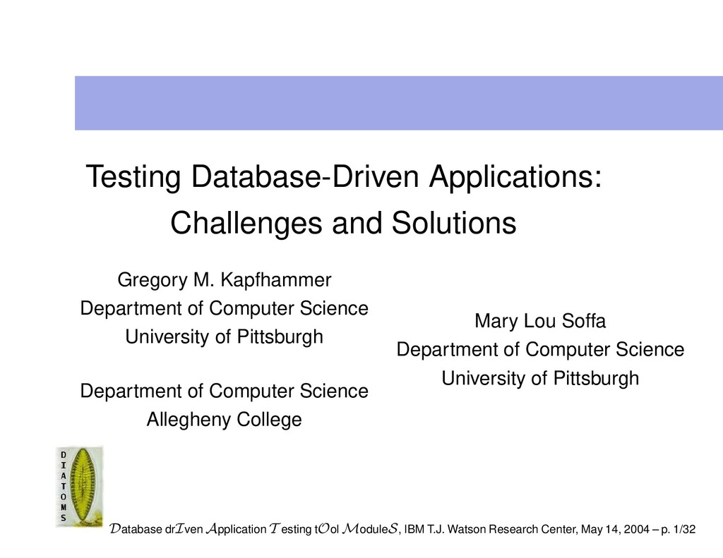 Testing Database-Driven Applications: Challenge...