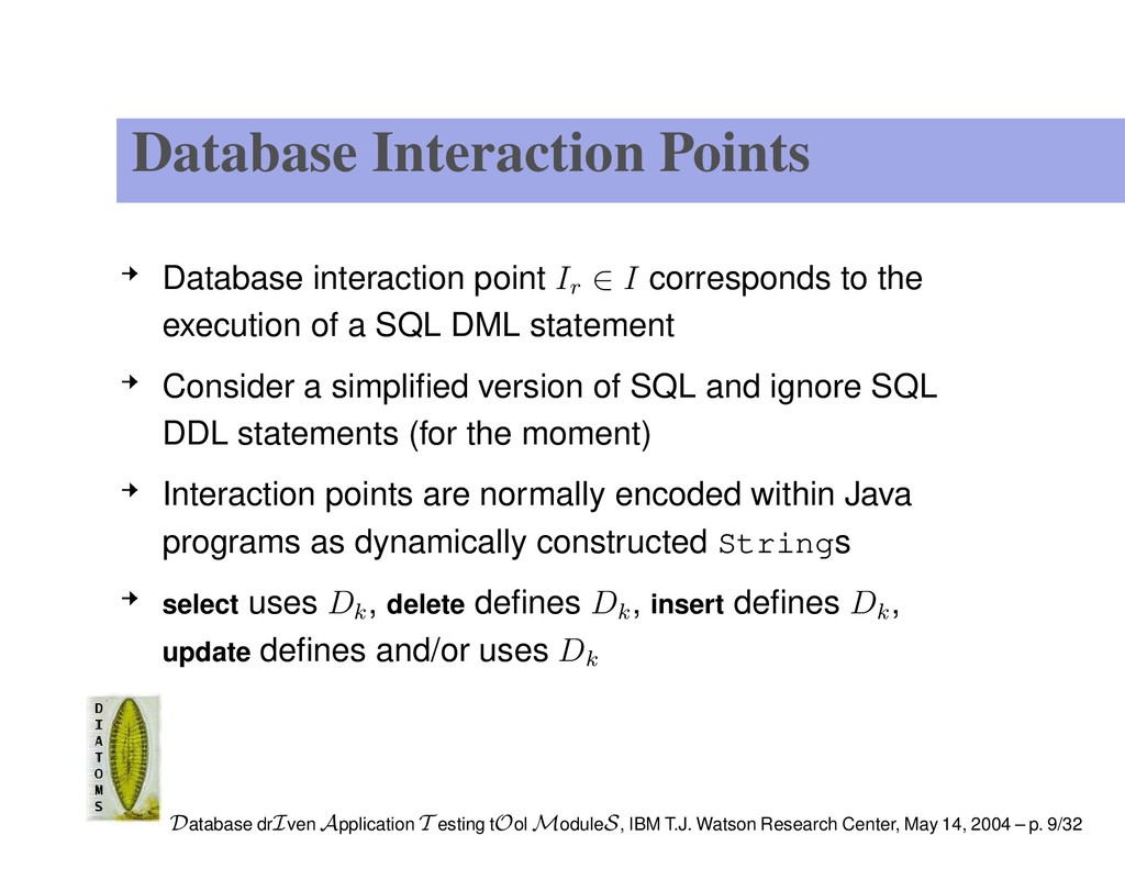 Database Interaction Points Database interactio...