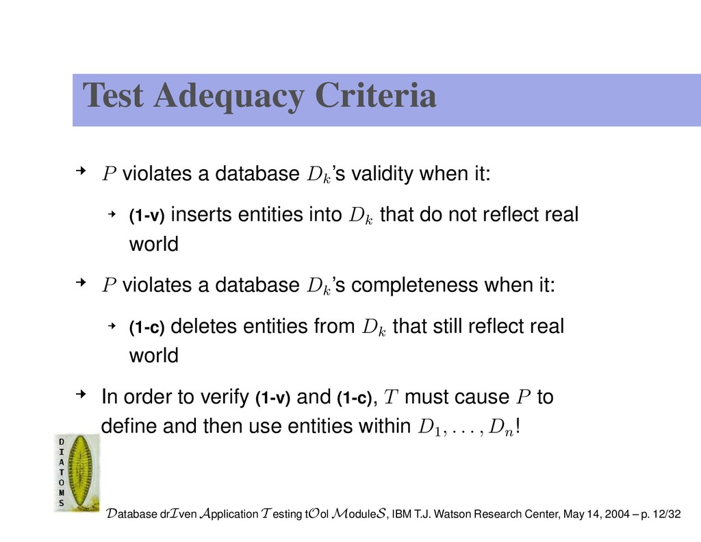 Test Adequacy Criteria P violates a database Dk...