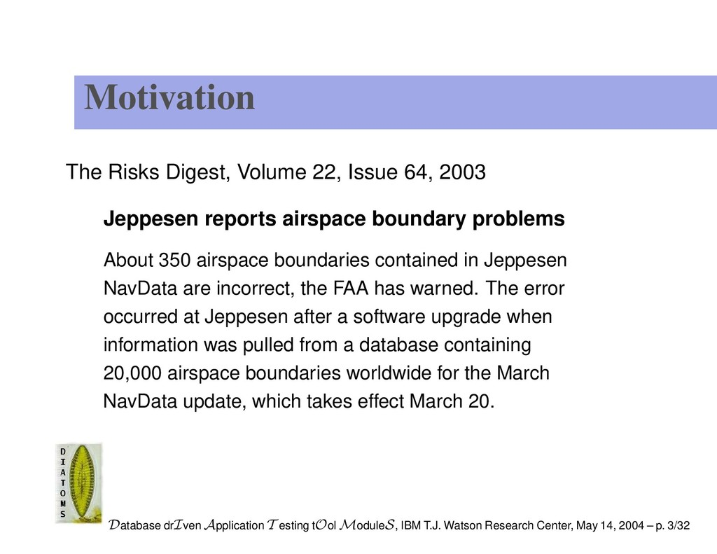 Motivation The Risks Digest, Volume 22, Issue 6...