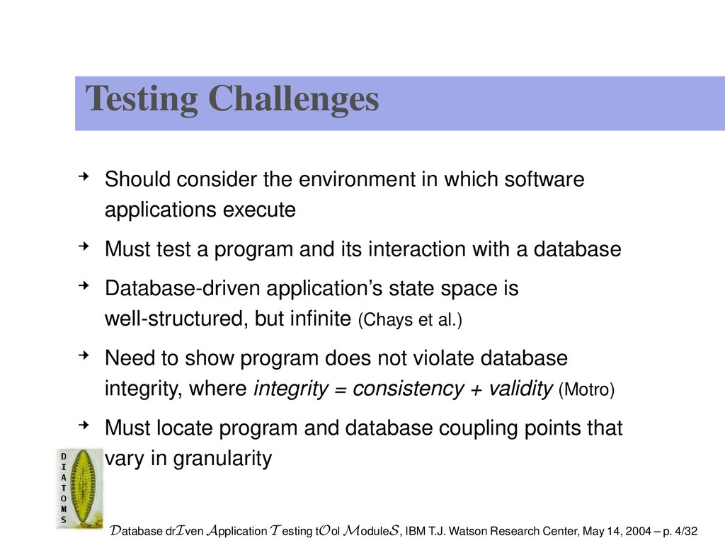 Testing Challenges Should consider the environm...