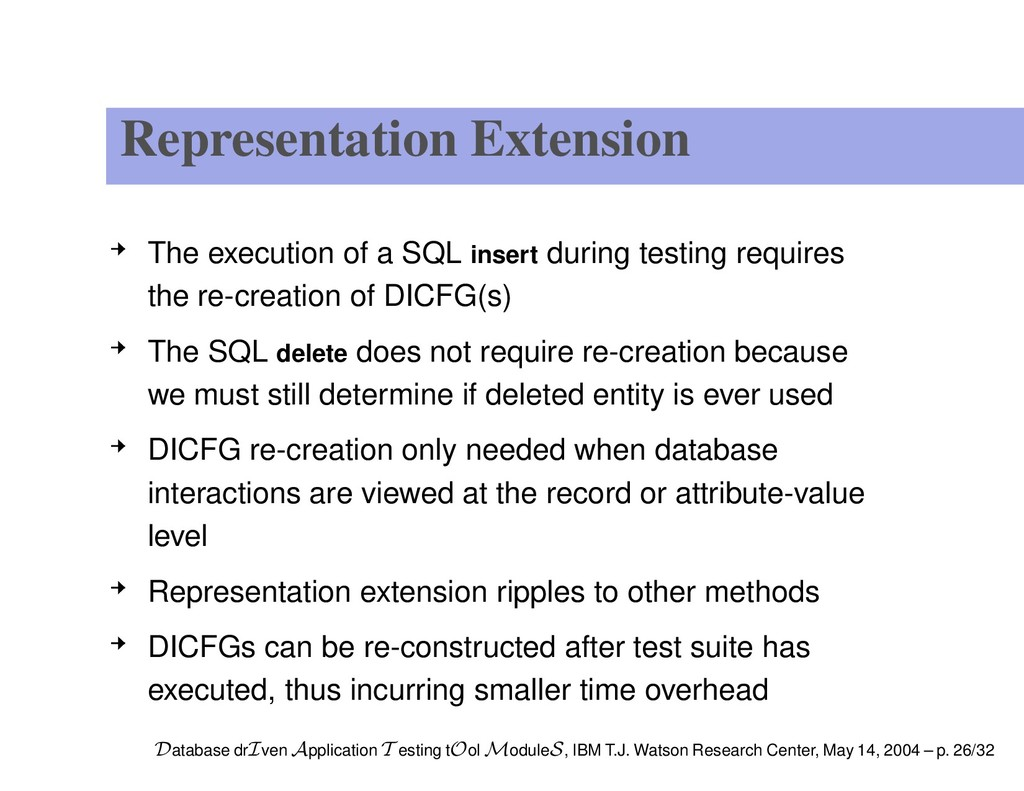 Representation Extension The execution of a SQL...