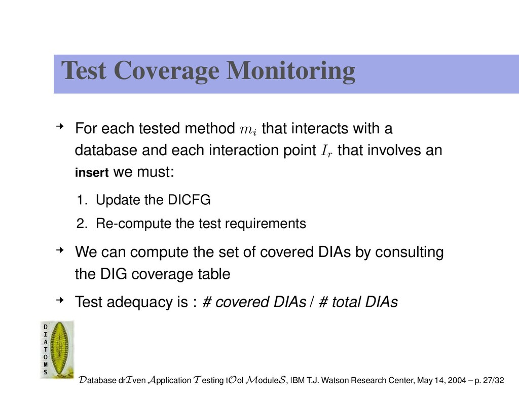Test Coverage Monitoring For each tested method...