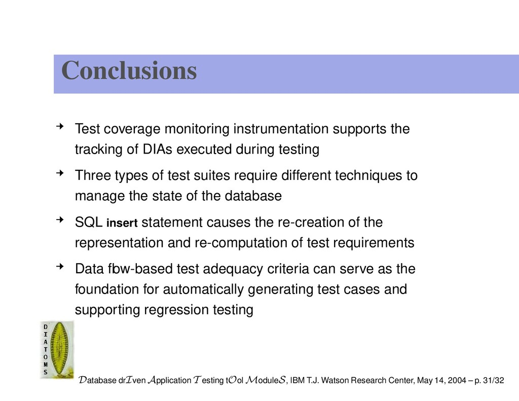 Conclusions Test coverage monitoring instrument...