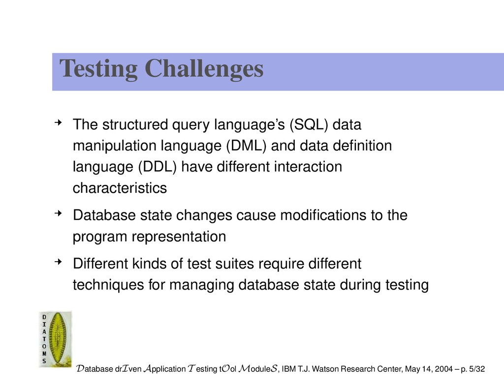 Testing Challenges The structured query languag...