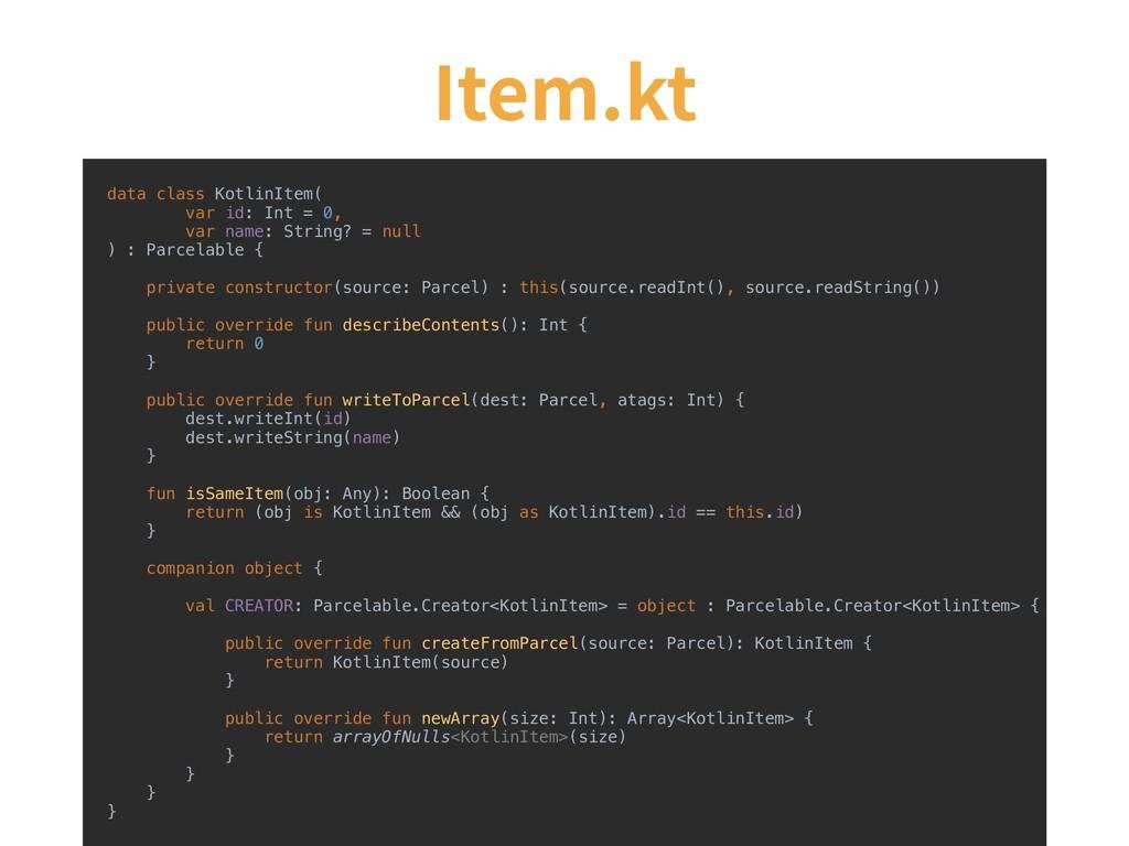 Item.kt data class KotlinItem( var id: Int = 0,...