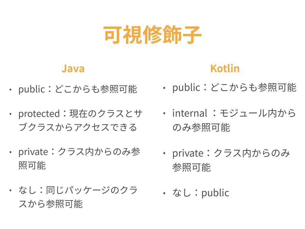 可視修飾⼦ • public:どこからも参照可能 • internal :モジュール内から の...