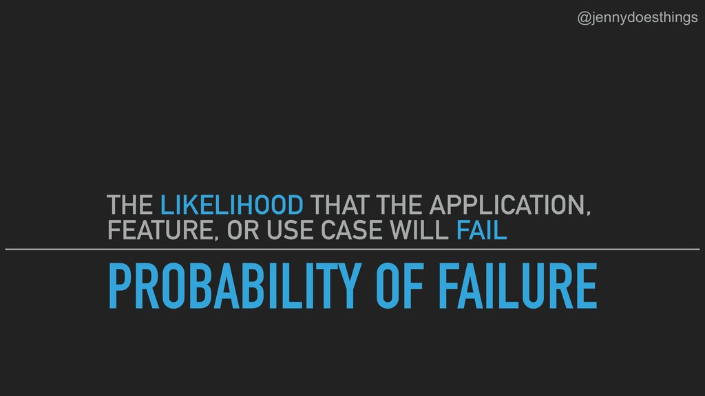 PROBABILITY OF FAILURE THE LIKELIHOOD THAT THE ...