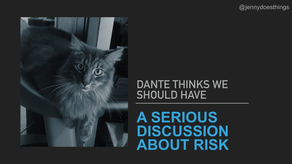 A SERIOUS DISCUSSION ABOUT RISK DANTE THINKS WE...