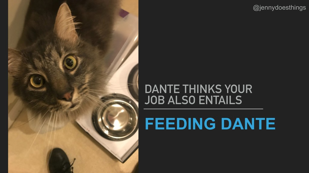 FEEDING DANTE DANTE THINKS YOUR JOB ALSO ENTAIL...