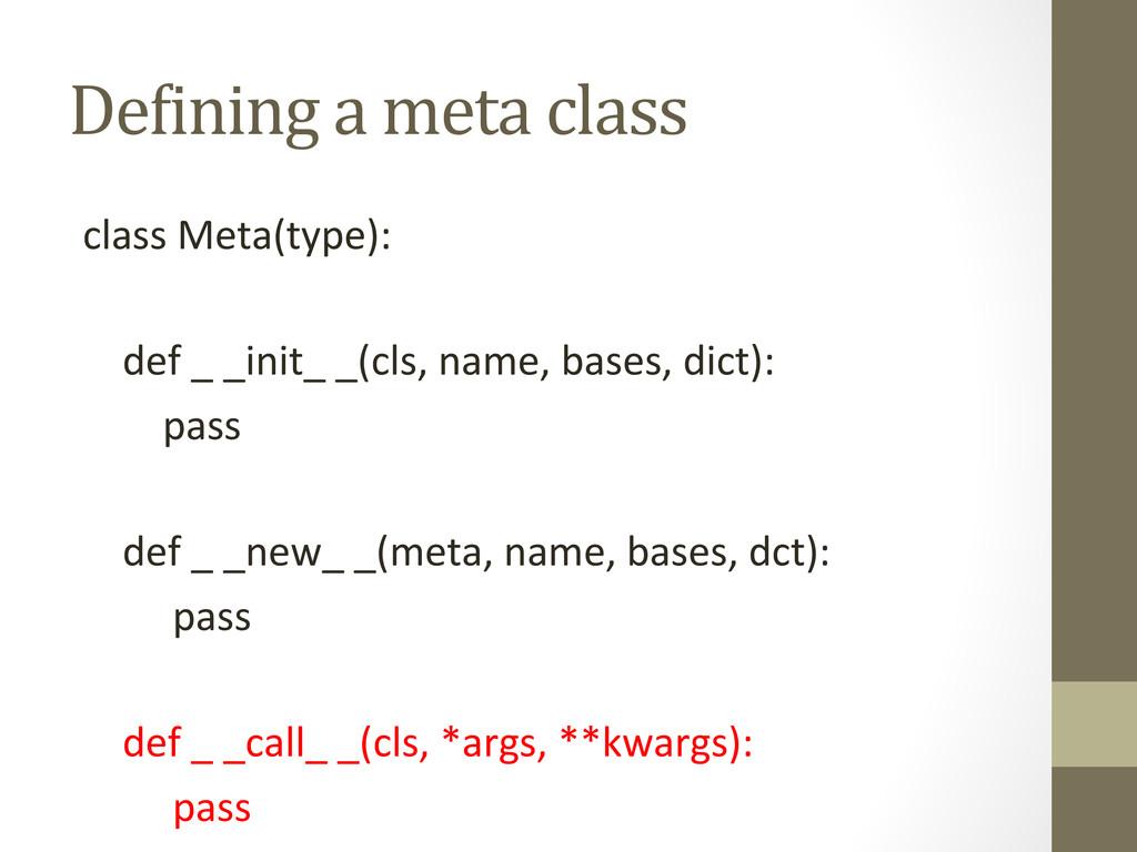 De5ining a meta class  class Met...