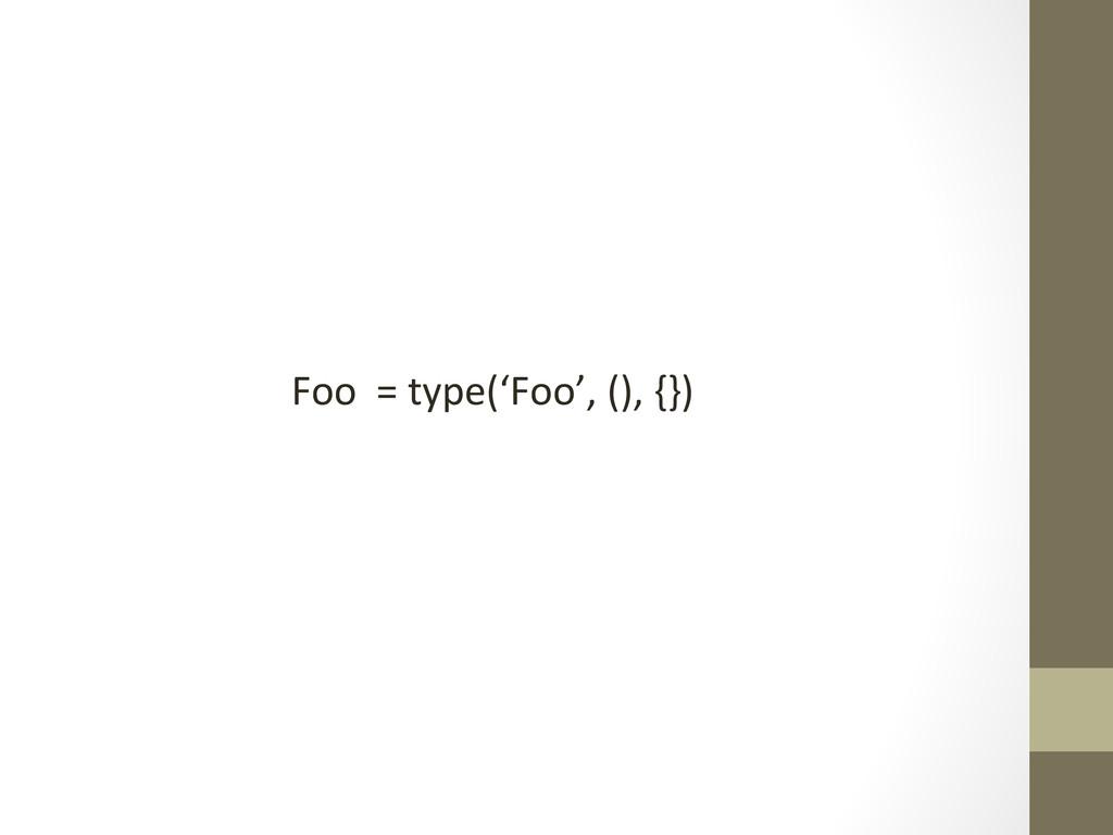 Foo  = type('Foo', (), {})...