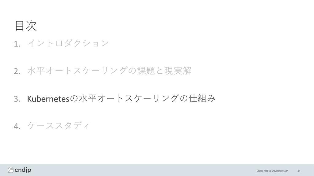 Cloud Native Developers JP ⽬次 1. イントロダクション 2. ⽔...
