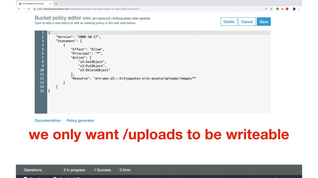 we only want /uploads to be writeable