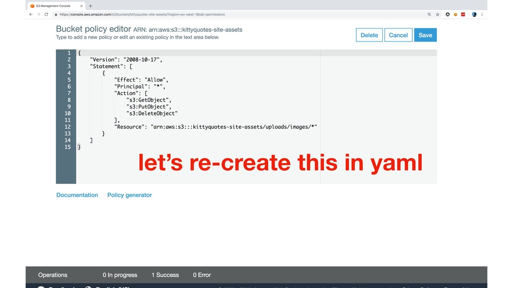 let's re-create this in yaml