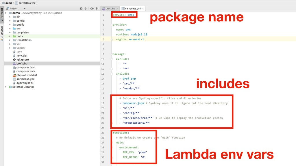 includes Lambda env vars package name