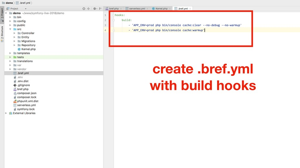 create .bref.yml with build hooks