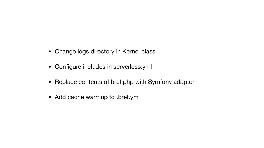 • Change logs directory in Kernel class  • Confi...