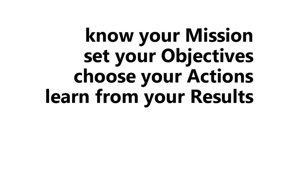 know your Mission set your Objectives choose yo...