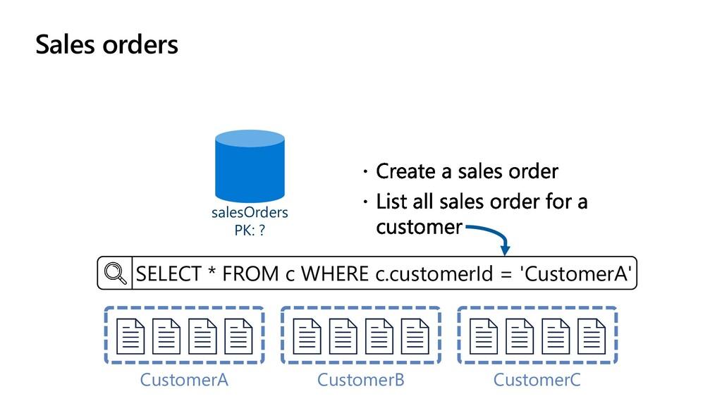 Sales orders salesOrders PK: ? CustomerA Custom...