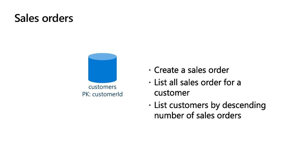 Sales orders customers PK: customerId