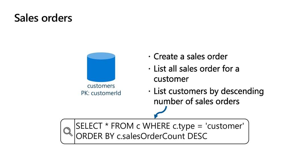 Sales orders customers PK: customerId SELECT * ...