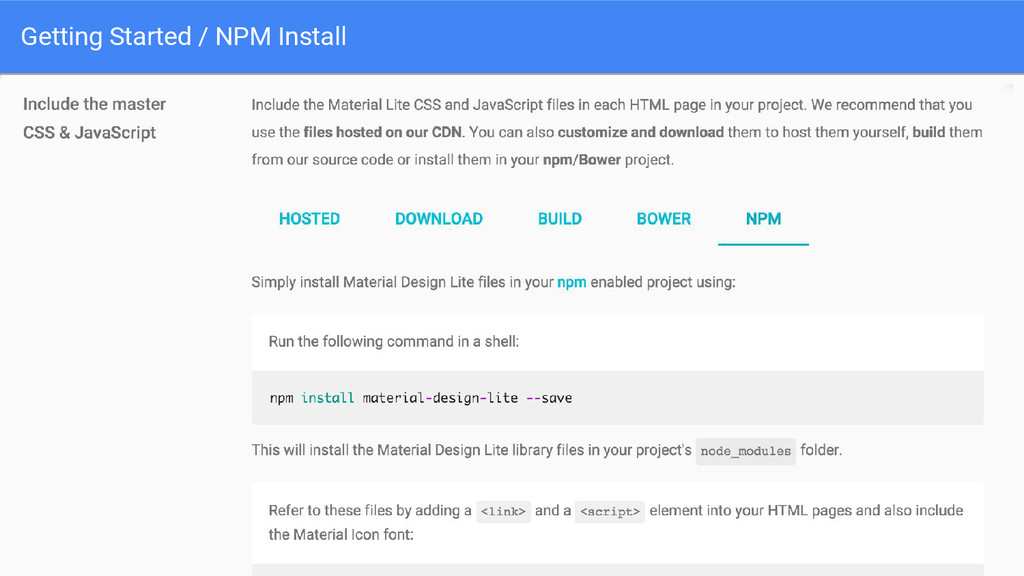 Getting Started / NPM Install