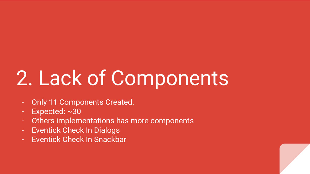 2. Lack of Components - Only 11 Components Crea...