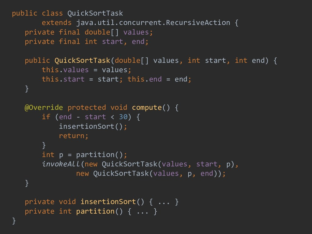public class QuickSortTask extends java.util.co...