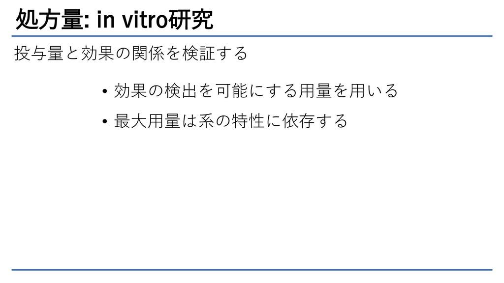 処方量: in vitro研究 投与量と効果の関係を検証する • 効果の検出を可能にする用量を...