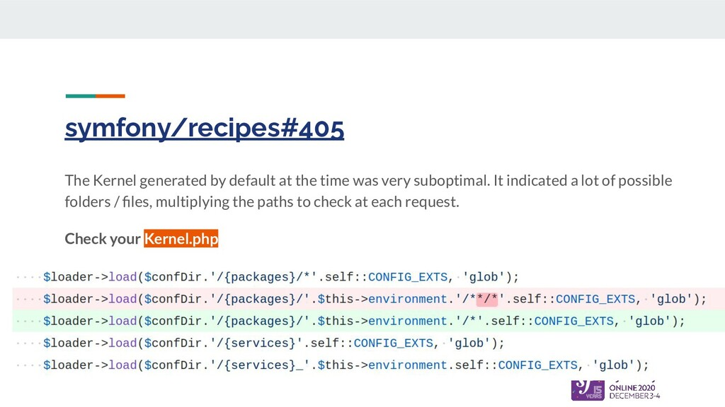 symfony/recipes#405 The Kernel generated by def...