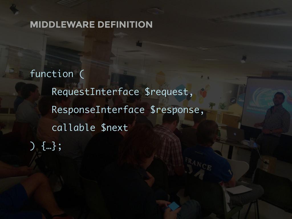 MIDDLEWARE DEFINITION function ( RequestInterfa...