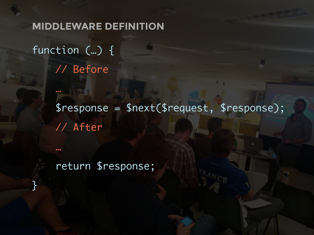 MIDDLEWARE DEFINITION function (…) { // Before ...